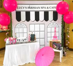 Spa and cafe Paris birthday party! See more party planning ideas at… Paris Themed Birthday Party, Spa Birthday Parties, Birthday Party Themes, Bachelorette Parties, Paris Prom Theme, Birthday Ideas, 30th Birthday, Parisian Party, Parisian Cafe