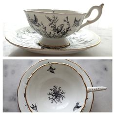 vintage teacup with birds