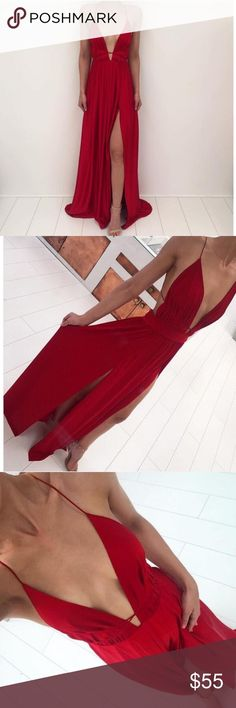 Long Deep V Red Dress (Listed as for love and lemons for views).   Perfect for prom or any special occasion!             Measurements: Bust-79-82cm, Waist-63-66cm, Hip-88-92cm, Length-158-162cm. For Love and Lemons Dresses Prom