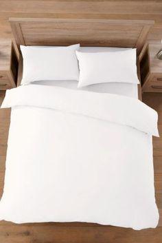 Buy Cotton Rich Plain Dye Bed Set from the Next UK online shop Bedding Sets Uk, King Size Bedding Sets, Duvet Bedding, Luxury Bedding Sets, White Bedding, White Pillows, Bed Pillows, Bed Linens, Comforter Sets