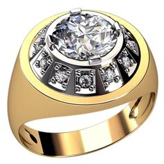 Mens ring - yellow gold with white diamonds