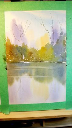 Timelapse watercolor showing my painting techniques for painting a colorful watercolour landscape. A river scene in the fall, with reflections of trees in the water. # painting techniques videos Watercolour Painting: Reflections in the river Watercolor Paintings For Beginners, Watercolor Landscape Paintings, Watercolor Trees, Watercolor Techniques, Abstract Watercolor Tutorial, Watercolor Sunset, Painting Abstract, Landscapes To Paint, Painting With Watercolors