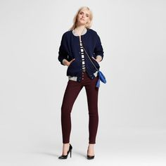 Women's Mid-rise Skinny Jeans Burgundy (Red)