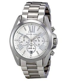 New Michael Kors Bradshaw Silver Chronograph Stainless Steel MK5535 Womens Watch #MichaelKors #LuxuryDressStyles