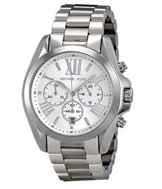 New Michael Kors Bradshaw Silver Chronograph Stainless Steel MK5535 Womens Watch #MichaelKors #LuxuryDressStyles