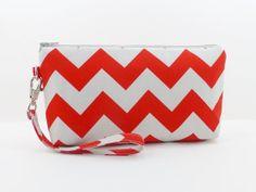 Red Gray Chevron Wristlet Bag Clutch Purse Padded by ZestyNotion, $16.50