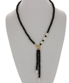 Olivia Welles Jewelry Imitation Pearl & Gold-Plated Beaded Toggle Necklace | zulily