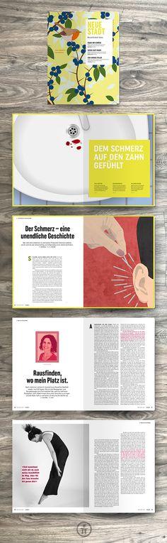 Die Mai/Juni-Ausgabe der Zeitschrift Neue Stadt stellt sich im Panorama dem Thema Schmerz. Unser durchdachtes Titel-Design zeigt hier, wie unterschiedlich das Magazin zukünftig immer aussehen kann – immer passend zum Thema.