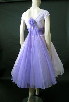 Dreamy 1950's Lavender Satin & Chiffon Party Dress $195.00