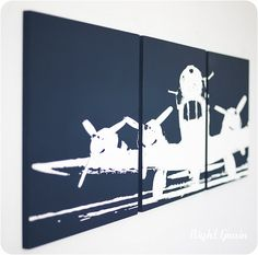 I Shall Fly High Airplane 3 Panel Wall Art  in by RightGrain, $68.00