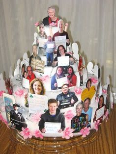 Sweetest cake with pictures of family holding birthday wishes