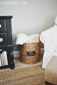 Basket to hold blankets in the living room or any room in your home. Would be great in a guest room too for all of your guests!