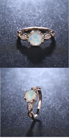 Jewelry Making Sea Glass Virant opal rose gold ring. Jewelry Making Sea Glass Virant opal rose gold ring Engagement Ring Rose Gold, Engagement Ring Settings, Vintage Engagement Rings Opal, Vintage Opal Rings, Wedding Rings Vintage, Solitaire Engagement, Ring Rosegold, Diy Jewelry Rings, Diamond Jewelry