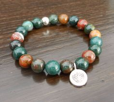 Bloodstone Power Bracelet with Silver Lotus Charm by CrystalMantra, $27.00