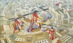 Tullio Crali  1910 - 2000  MISSIONE AEREA  SIGNED AND DATED 35, SIGNED AND TITLED ON THE REVERSE, OIL ON CANVAS  cm 60x100