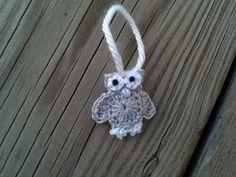 christmas ornament Crochet Little sliver white owl Applique Handmade wings in white for scrapbooking trim sewing flatback. $2,45, via Etsy.