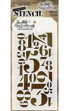 TIM HOLTZ: Layering Stencil (Numeric) Use these stencils to layer with inks, paints, stamps and more.This package contains one 8-1/2x4-1/8 inch stencil. *Try using some of our MIXED MEDIA paints or Ti