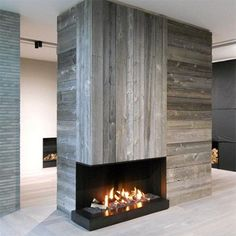 Home Dzine DIY Reclaimed Style - Reclaimed wood fireplace surround