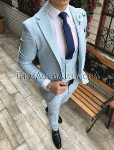 Italyan Stil Erkek Ceket Yelek Pantolon Buz Mavisi Takim Elbiset2329