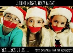 "Christmas Card Photo Ideas- haha love the ""silent night"" would be good for when the boys are older lol"