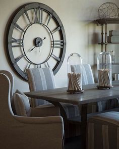 "No matter how big of a clock you put on the wall there will always be that friend that continues to ask ""what time is it?"". #furniture #mondays #diningroom #interiordesign #mathisstyle"