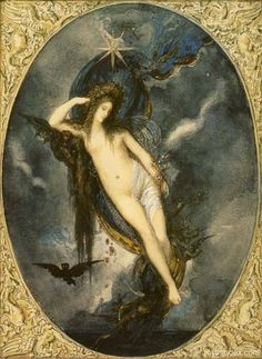 One of the most enigmatic Greek divinities is Nyx, the primordial goddess of the Night (Nyx, ca. 1880 - Gustave Moreau).