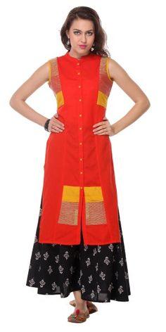 Pretty Orange Cotton Long Kurti With Plazzo Pant.