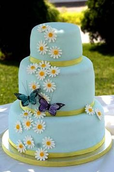 Three tier round light blue fondant wedding cake decorated with white daisy gum paste flowers, gold ribbon around each layer and blue & purple butterflies.minus the butterflies Daisy Wedding Cakes, 2 Tier Wedding Cakes, Daisy Cakes, Fondant Wedding Cakes, Buttercream Wedding Cake, Blue Cakes, Wedding Cake Decorations, Wedding Cake Designs, Wedding Ideas