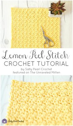 Crochet Lemon Peel Stitch Tutorial and Free Spa Cloth Pattern Salty Pearl Crochet Featured on The Unraveled Mitten Dishcloth Washcloth Easy Crohcet Stitch Textured Stitch perfect for Blankets scarves sweater and other crochet patterns for home Stitch Crochet, Crochet Motifs, Crochet Mittens, Crochet Stitches Patterns, Free Crochet, Stitch Patterns, Knitting Patterns, Dishcloth Crochet, Crochet Washcloth Patterns