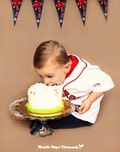 Cake Smash Photo  Toddler Photo  Red Sox...wish I thought of this!
