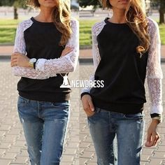 New Fashion Lady Women Casual O-neck Long Lace Sleeve Tops Blouse