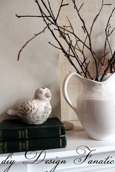 After Christmas (Late Winter) Decor Idea: twigs in a white pitcher.