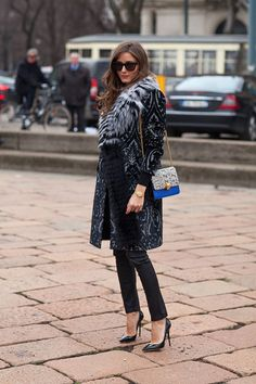 Anna Dello Russo in Burberry Trench and Printed Fur Stole - Milan Street Style - Harper's BAZAAR