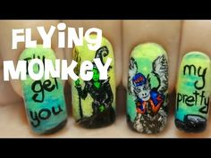 Flying Monkey (The Wizard of Oz - Part 5) ⎮ Freehand Nail Art Tutorial - YouTube