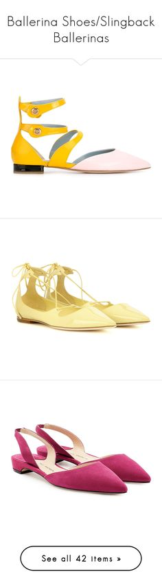 """Ballerina Shoes/Slingback Ballerinas"" by sol4nge ❤ liked on Polyvore featuring shoes, flats, ballerina flat shoes, ballet flat shoes, pointed toe flats, ballerina flats, ballet flats, yellow, yellow shoes and lace up flats"