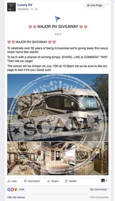 Watch Out For 'Luxury RV' Giveaway Scams on Facebook