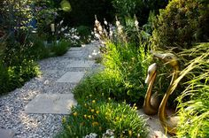Low water modular garden with pavers set in large crushed stone. Venice Studio of Designer Sean Knibb.