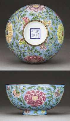 Kangxi mark and period (early C18th) famille rose enamels on metal bowl, 15cm, 250K in 2003