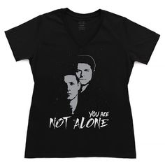 "Jensen & Misha ""You Are Not Alone"" Campaign t-shirt. This Campaign will support a new platform: The SPNFamily Crisis Support Network. Random Acts has partnered with IMAlive & To Write Love on Her Arms (TWLOHA) to create a fan-based community where fans in crisis can go for help. Supernatural/ SPN"