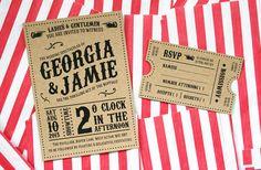 Kraft Vintage Style Carnival, Circus Themed Wedding Invitation, Ticket Set, Marquee Wedding Invitation