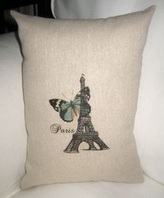 Spring Butterfly in Paris - Eiffel Tower French Country Pillow on Etsy, $12.99!