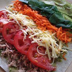Via: @hns_kbbg | Tuna, cheese and salad Mountain Bread wrap | Healthy Recipe
