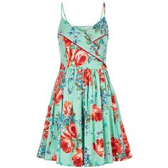 Louche Bonita Flower Sundress ($92) ❤ liked on Polyvore featuring dresses, vestidos, special occasion dresses, beach dresses, green cocktail dress, floral dresses and evening dresses