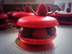 Raspberry & Chocolate Macarons - Almond macaron filled with fresh raspberries, dark Valrhona Manjari chocolate ganache & a raspberry centre (Eponine Patisserie & Chocolaterie)