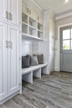 Mudroom Cubbies, Transitional, Laundry Room, Vita Design Group This is what my house needs! Mud room especially! Mudroom Cubbies, Mudroom Laundry Room, Mudroom Cabinets, Diy Cabinets, Tall Cabinets, White Cabinets, Mudrooms With Laundry, Mudroom Benches, Storage Cabinets