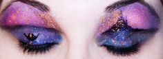 Tangled makeup. There is a shocking amount of space between this person's eyelashes and eyebrows. Wow.