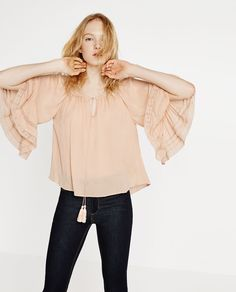 Image 4 of BLOUSE WITH GATHERED NECKLINE from Zara