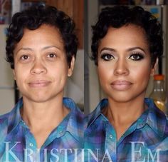 """I am not a big fan of """"cake face makeup"""" but this transformation looks amazing. The woman looks 10 years younger! Things that contouring can do!"""