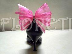 Sassy Designer Shoe Bow Clips Hot Pink Organdy Gifts Swarovski Crystals | Floreti - Wedding on ArtFire