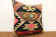 Accent kilim pillow cover 16 x 16 Ethnic Kilim by kilimwarehouse, $47.00